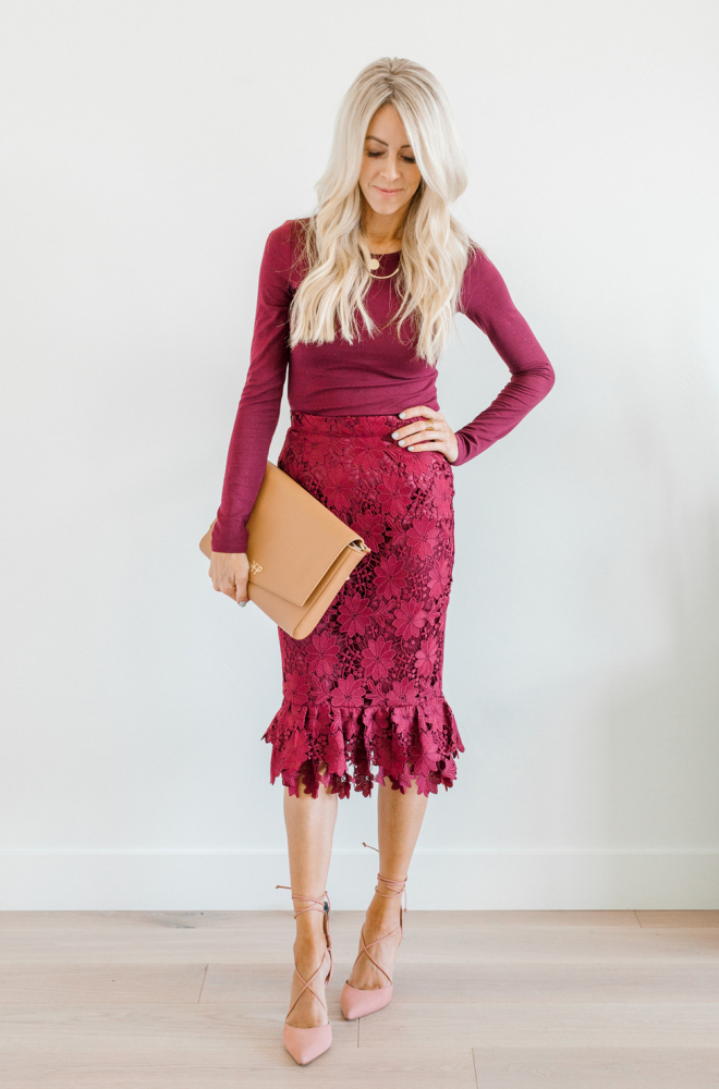 Kailee Wright holiday dresses rachel parcell skirt