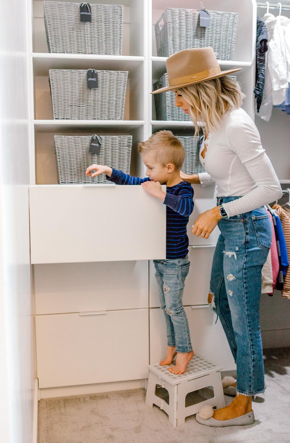 Kailee Wright kids closet organization
