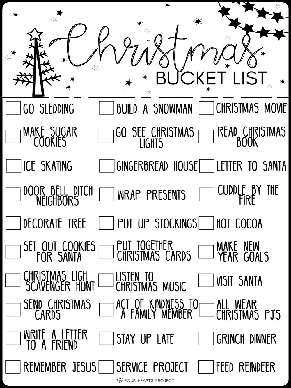 kailee wright free printable holiday bucket list