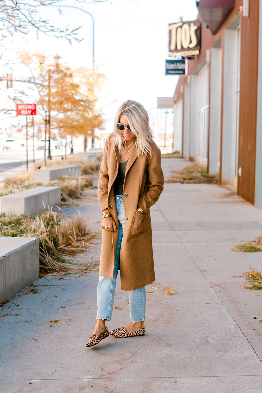 Kailee Wright tan over coat