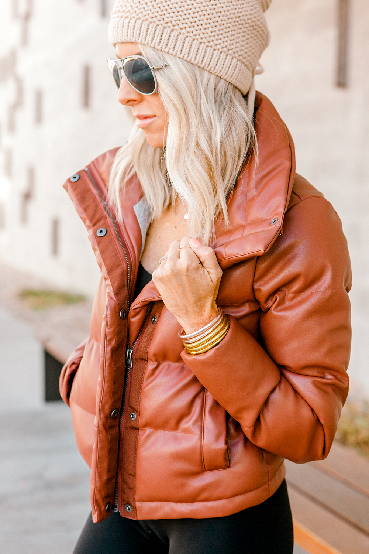 Kailee Wright lululemon leggings and abercrombie coat